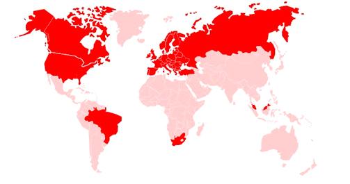 Карта присутствия Vodafone Automotive в мире
